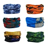 Delicol 6pcs Assorted Seamless Outdoor Sport Bandanna Headwrap Scarf Wrap(7 Color Choices) (Style 1)