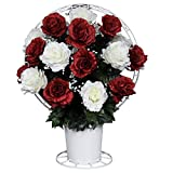 Red and White Open Roses Silk Flower Basket by Sympathy Silks® (BA1561) Sale