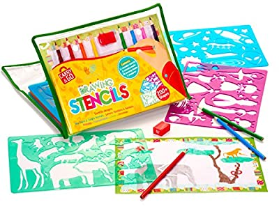 Large Drawing Stencils Art Set for Kids by Creativ' Craft - More than 200 Shapes, Awesome Creativity Kit & Lightweight Travel Activity for Children, Educational Toy for Girl and Boy, Ideal Kid Gift from Ketsana Limited