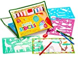 Large Drawing Stencils Art Set for Kids by Creativ Craft - More than 200 Shapes, Awesome Creativity Kit & Lightweight Travel Activity for Children, Educational Toy for Girl and Boy, Ideal Kid Gift