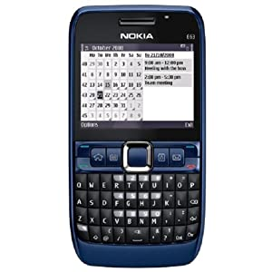 Nokia E63-2 Unlocked Phone with 2 MP Camera, 3G, Wi-Fi, Media Player, and MicroSD Slot–U.S. Version with Warranty (Ultramarine Blue)