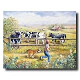 Holstein Cows Boy Puppy Dog Country Home Decor Wall Picture 16x20 Art Print
