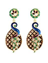 The Jewelbox Traditional Peacock Antique Gold Plated Meenakari Pearl Earring For Women