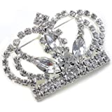 Princess Crown Tiara Brooch Pin Wedding Bridesmaid Clear Rhinestones Jewelry