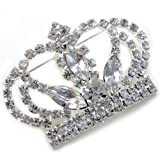 Princess Crown Tiara Brooch Pin Wedding Bridesmaid Clear Stone Crystal Silver Tone Costume Jewelry