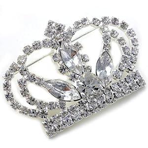Princess Crown Tiara Brooch Pin Wedding Bridesmaid Clear Stone Crystal Silver Tone Costume Jewelry