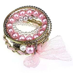 Bocideal 1pc Mädchen-Spitze-Herz-Blumen-Schlucken Strass Armband Schmuck Koreanisch