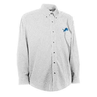 NFL Men's Detroit Lions Esteem Woven Dress Shirt (White/Grey, Small)