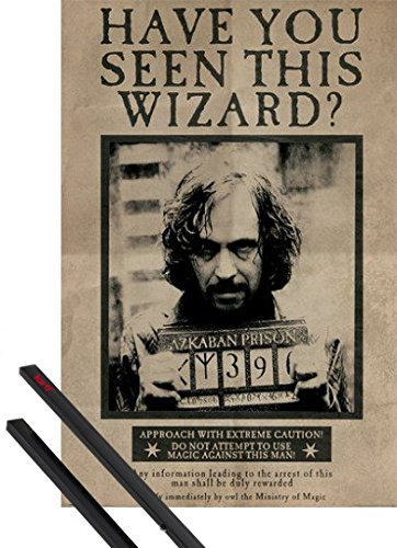 Poster + Sospensione : Harry Potter Poster Stampa (91x61 cm) Wanted Sirius Black e Coppia di barre porta poster nere 1art1®