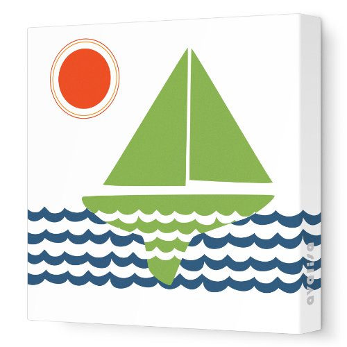 "Avalisa Stretched Canvas Nursery Wall Art, Sailing, Green, 18"" x 18"""