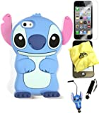 Bukit Cell ® 3D Disney Case Bundle - 5 items: BLUE 3D Cute Stitch Soft Silicone Case Cover for IPHONE 5S 5 5G + BUKIT CELL Trademark Lint Cleaning Cloth + Stitch Figure Anti Dust Plug Stylus Touch Pen + Screen Protector + METALLIC Stylus Touch Pen with Anti Dust Plug