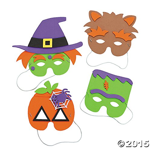 Halloween Mask Craft Kit - Crafts for Kids & Hats & Masks, 1 dozen Assorted Masks - 1
