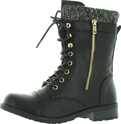 Forever-Link-Womens-Mango-31-Round-Toe-Military-Lace-Up-Knit-Ankle-Cuff-Low-Heel-Combat-Boots