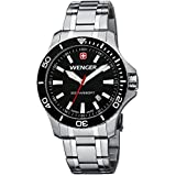Wenger Seaforce Men's Quartz Watch with Black Dial Analogue Display and Silver Stainless Steel Bracelet 010641105