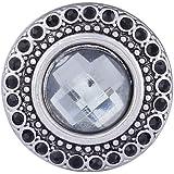 Morella Damen Click-Button Druckknopf mit weißer Perle und schwarzen Zirkoniasteinen