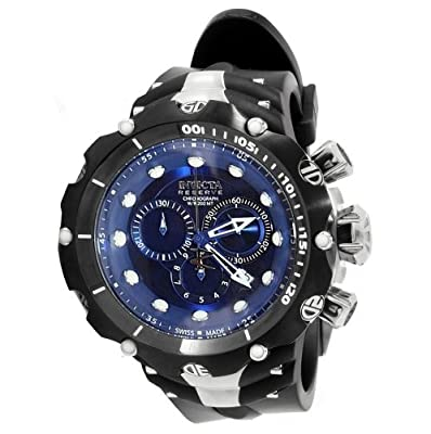 Invicta Men's 1519 Reserve Venom II Chronograph Blue Dial Black Polyurethane Watch