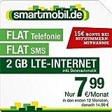 smartmobil.de LTE XS [SIM, Micro-SIM und Nano-SIM] 24 Monate Laufzeit (2 GB LTE-Internet mit max. 50 MBit/s inkl. Datenautomatik, Telefonie-Flat, SMS-Flat, 7,99 Euro/Monat in den ersten 12 Monaten, danach 14,99/Monat) O2-Netz