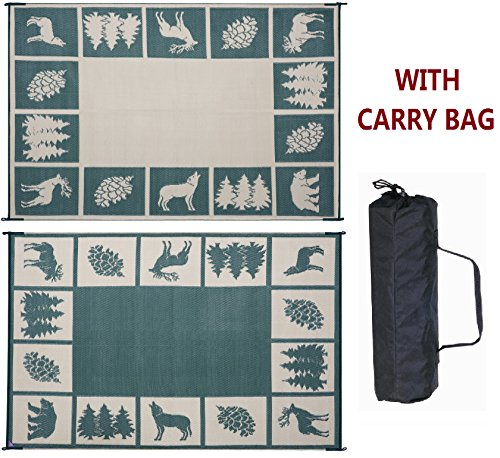Reversible Mat 9' x 12' RV Outdoor Camping Patio Wilderness Hunter Mat (Hunter Green/Beige) (Camping Outdoor Mat compare prices)