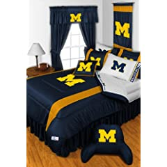 Michigan Wolverines 6 Pc TWIN Comforter Set & Set of Two 5 Pc Valance Drape Sets... by Sports Coverage