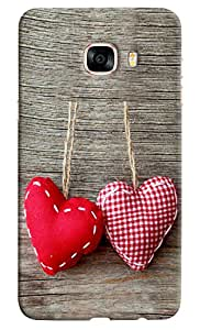Omnam Two Hearts Hanging On Wood Printed Designer Back Cover Case For Samsung Galaxy C5