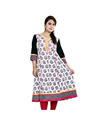 Rama Designer Cotton White Printed Kurti (14RAMA1421056)