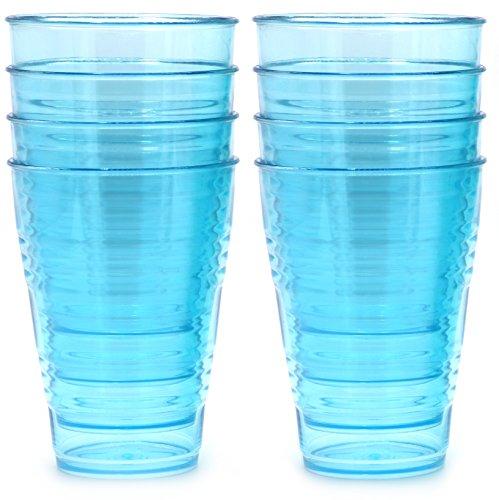 FLEXLINE 20oz Tumblers - Premium Reusable Break-Resistant Hard Plastic Cups - Set of 8 - Sky Blue Color - WholeMarket Quality