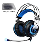 HITSAN sades a7 gaming headset 7 1 stereo surround sound earphone game headphone with mic led for pc laptop gamer