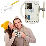 Ipow Magic Porcelain Ceramic Large Office Speak Writing Message/memo Postcard Milk Tea Soup Coffee Mug Cup,cool Birthday Gift for Both Men,women,him and Her