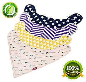 Tommy RAZ Premium Baby Bandana Drool Bibs,unisex (4-pack) Absorbent 100% Organic Cotton Bibs with 2 Snaps,cute Baby For boys & girls - Set with Free E-book+ Cool Gift Bag Present Gifty Shower.