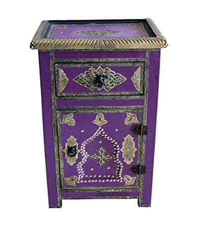Badia Design Moroccan Metal And Faux Leather Cabinet, Purple
