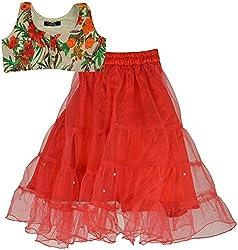 Gazel Vestire Girls Net Lehenga Choli For Kids (Red, 2-3 Years)