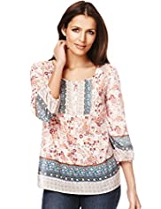 Indigo Collection Cotton Rich Boho Print Tunic with Silk
