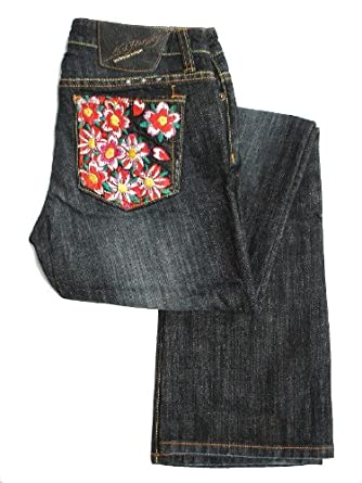 New Ed Hardy Women's Bootcut Jeans - Embroidery Ghost Skull Flower (25)