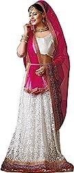 Shyam Fab Women's Net Lehenga Choli (PR1059, White)