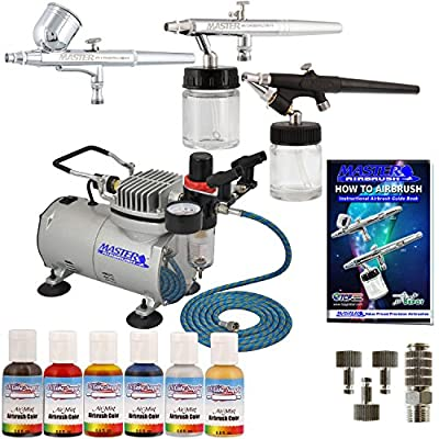 Master Airbrush Cake Decorating System. 3 Airbrushes, Air Compressor, 6' Hose, Airbrush Holder, 3 Quick Couplers, 4-Color US Cake Supply 1/2oz Airbrush Food Paint Colors (Red, Blue, Yellow & Green) plus (FREE) Gold & Silver Shimmer Colors & How to Airbrus