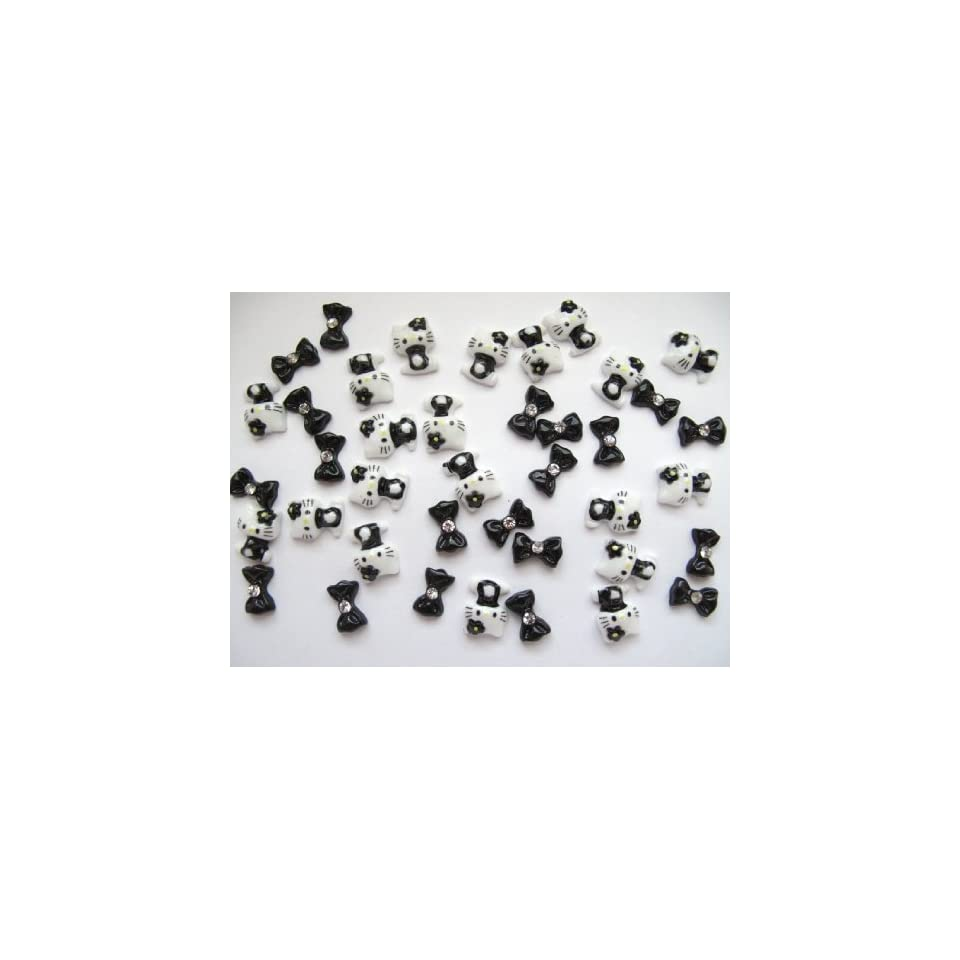 Nail Art 3d 40 Pieces Mix Black Hello Kitty/Bow for Nails, Cellphones