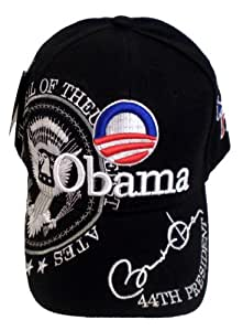 """Barack Obama Hat - Black Baseball Cap """"44th President Obama"""", With Official Logo, Presidential Seal, Democratic Donkey, And Signature; Great Gift Idea (Collectible Novelty Item)"""