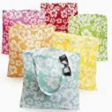 Lot of 12 Large Hibiscus Hawaiian Luau Pool Party Tote Bags