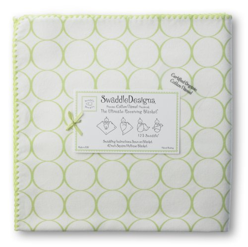 SwaddleDesigns Organic Ultimate Receiving Blanket - Kiwi Mod Circles on Ivory