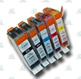 5 Chipped PGI-520 & CLI-521 Compatible Ink Cartridges for Canon Pixma MP620 Printer