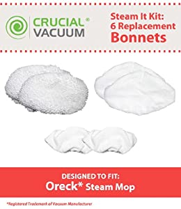 Oreck Steam It Kit; Includes 6 Washable, Reusable Mop Pads; Fits the Oreck Steam Mop; Designed & Engineered by Crucial Vacuum