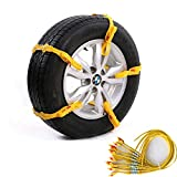 Grikey 10Pcs Adjustable Car Tire Snow Chains Emergency Anti Slip Chain Fit for Tyre Width 145-285mm