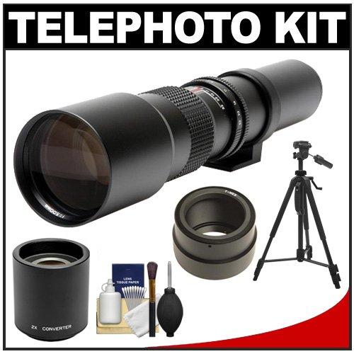 Rokinon 500Mm F/8 Telephoto Lens & 2X Teleconverter (= 1000Mm) With Tripod + Cleaning Kit For Sony Alpha Nex-C3, Nex-F3, Nex-5, Nex-5N, Nex-7 Digital Cameras