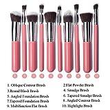 GYBest Luxurious Synthetic Make Up Brush Set Cosmetics Foundation Blending Blush Eyeliner Face Powder Brush Makeup Brush Kit (10pcs, Silver Pink)