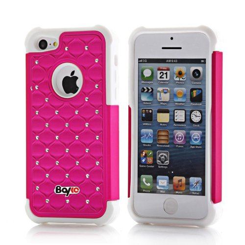 Bayke Brand Apple iPhone 5C (5 & 5S not Fit) PC + Silicone Impact Hybrid Bumper Defender Case Luxurious Lattice Dazzling Bling Shining Star Diamond Rhinestone Rubber Skin Hard Protector Cover Case (Hot Pink and White Silicone) at Amazon.com