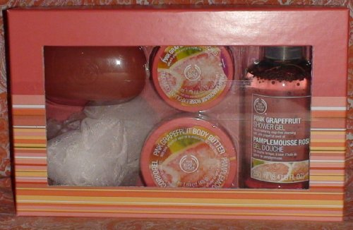 The Body Shop Pink Grapefruit Shower, Scrub and Soften Collection Set.