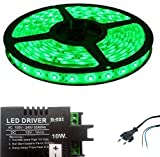Iplay Self Adhesive SMD Strip LED Light With LED Driver & Power Cord, Green