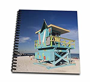 3drose Usa Florida Miami Beach South Beach Colorful Lifeguard Tower Drawing Book 8 By 8
