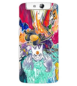 ColourCraft Cartoons Abstract Design Back Case Cover for OPPO N1