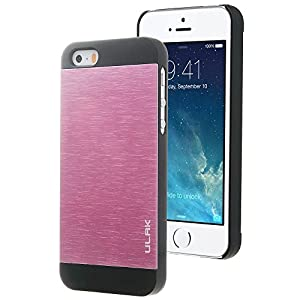 iPhone 5S Case, Pandamimi ULAK Brushed Steel Case for iPhone 5S 5 (Black+Pink)